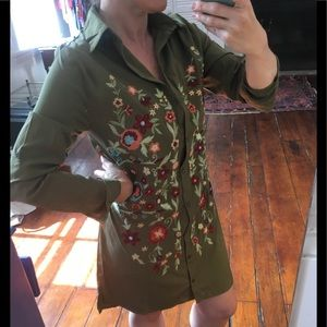Floral embroidered olive green shirt-dress, BooHoo